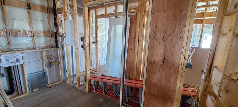 Framed interior of RTM North Battleford Home Hardware