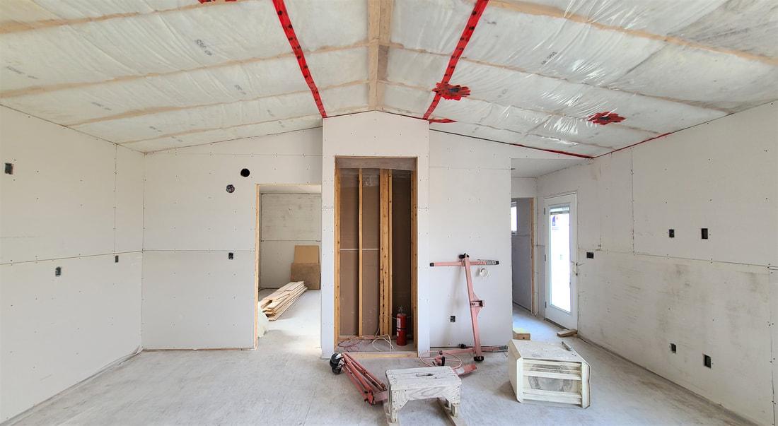 Drywalled interior of RTM Home Hardware North Battleford