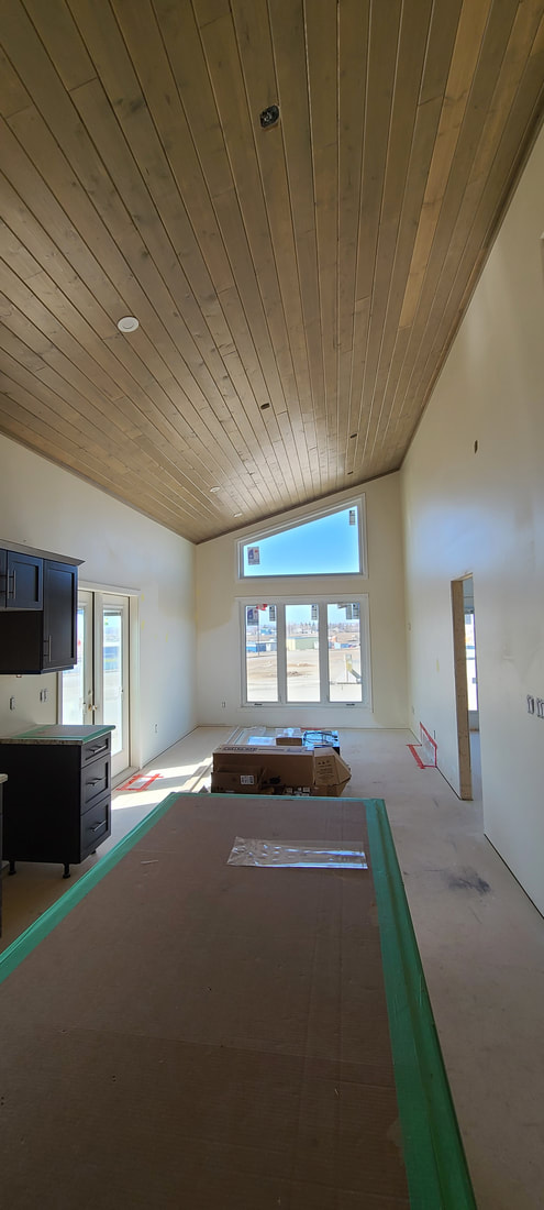 Living space with wood roof RTM