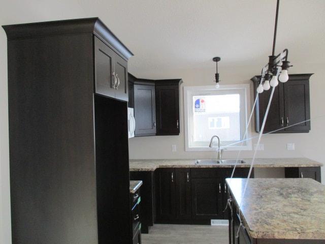 Dark brown kitchen cabinets in a modern kitchen