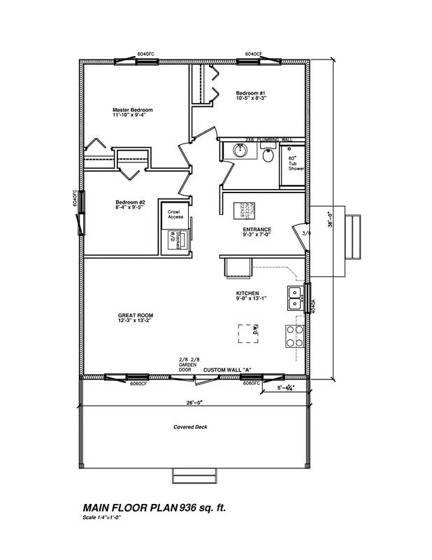 Floor plan drawing of RTM model 3607-936