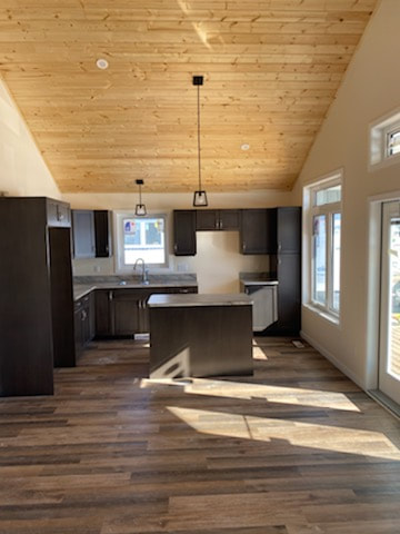 Kitchen no appliances with dark wood floor and light wood ceiling